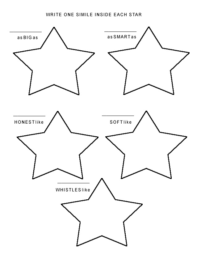 similes and metaphors worksheets. the Star Simile Worksheet,